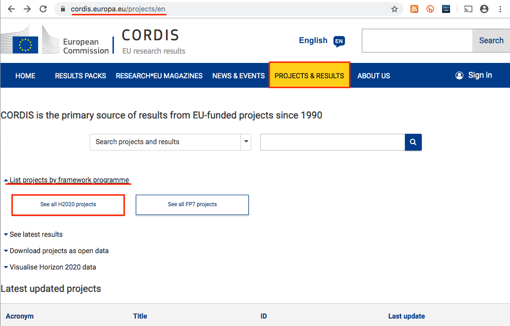 How to find funded projects on Cordis 1